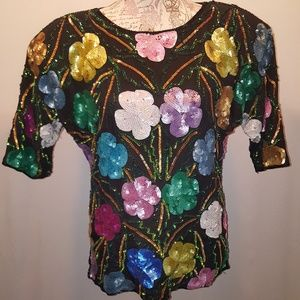 Vintage floral multi-color sequin top sz S
